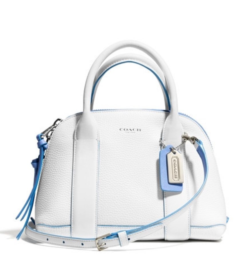 Bleecker Edgepaint Leather Mini Preston Satchel - White Blue Oxford 30344, 650, Handbags, Coach