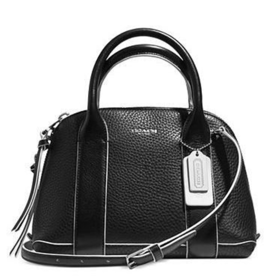Bleecker Mini Preston Satchel in Edgepaint Leather - Silver Black White 30344, 990, Handbags, Coach