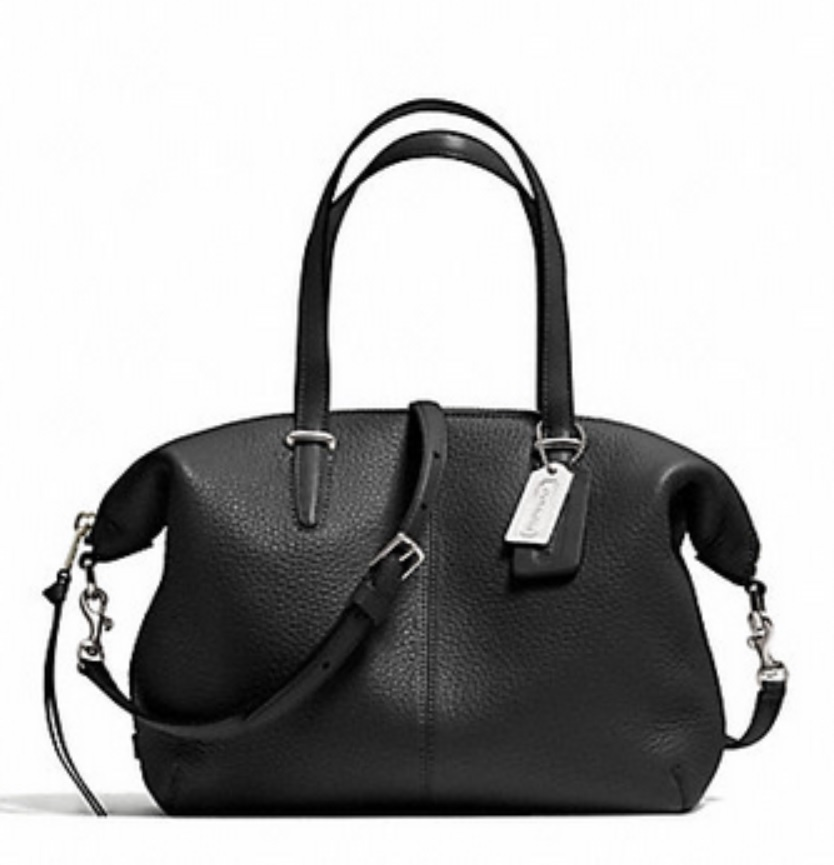 Bleecker Small Cooper Satchel in Pebbled Leather - Black 27926, 820, Handbags, Coach