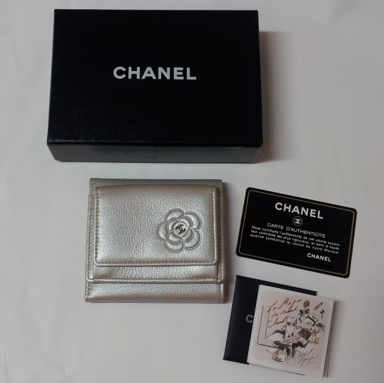 Chanel Camellia Small Metallic Leather Wallet - Silver 0, 1550, Wallets, Chanel