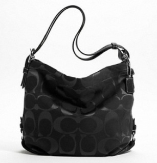 Coach 24cm Signature Duffle - Black Black F15067, 620, Handbags, Coach