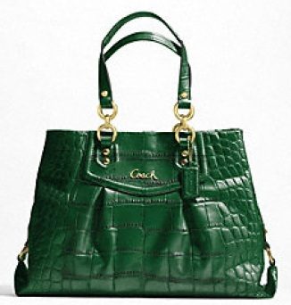 Coach Ashley Embossed Croc Carryall - Forest F20345, 850, Handbags, Coach