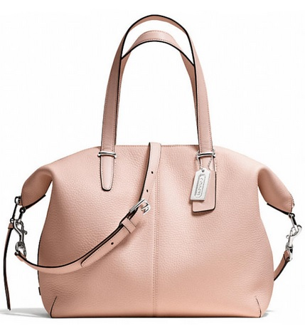 Coach Bleecker Cooper Satchel in Pebbled Leather - Peach Rose 27930, 1050, Handbags, Coach