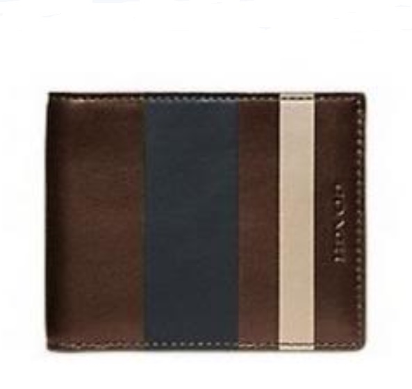 Coach Bleecker Debossed Stripe Slim Bilfold Men Wallet - Mahogany Navy 74593, 390, Wallets, Coach