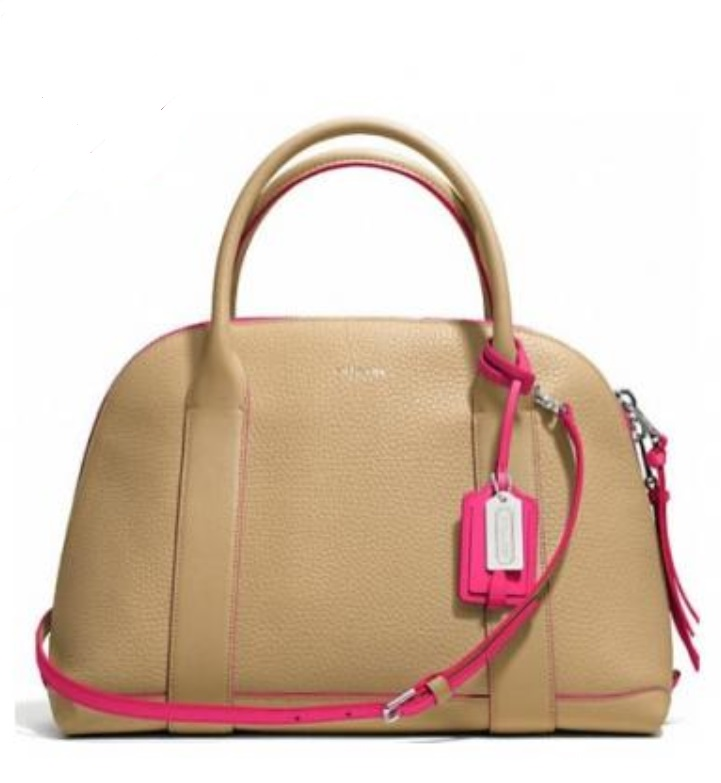 Coach Bleecker Edgepaint Leather Preston Satchel - Camel Pink Ruby 30165, 950, Handbags, Coach