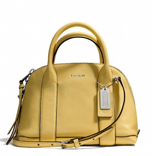 Coach Bleecker Mini Preston Satchel in Pebbled Leather - Pale Lemon 30143, 890, Handbags, Coach