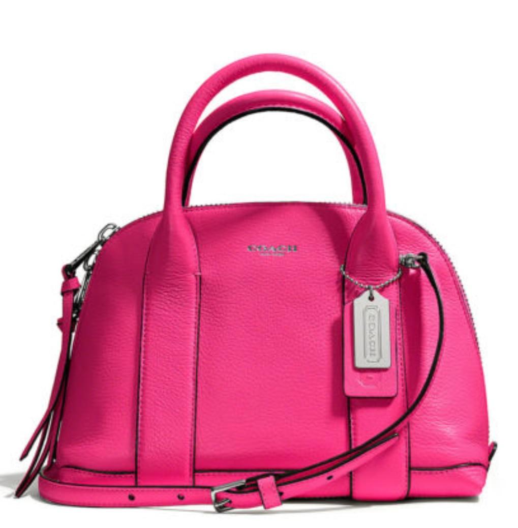 Coach Bleecker Mini Preston Satchel in Pebbled Leather - Pink Ruby 30143, 890, Handbags, Coach