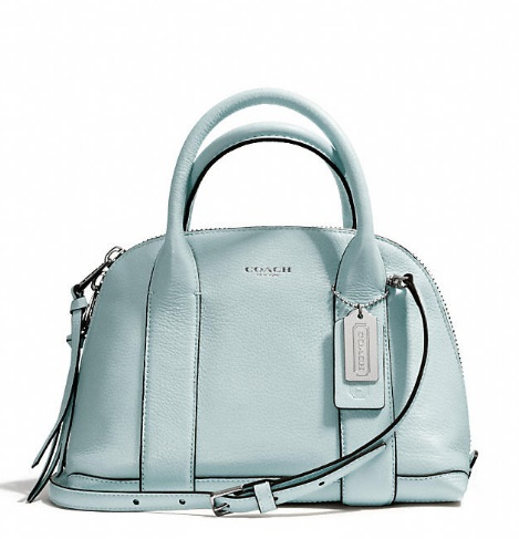 Coach Bleecker Mini Preston Satchel in Pebbled Leather - Sea Mist 30143, 990, Handbags, Coach