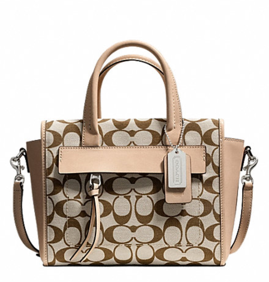 Coach Bleecker Mini Riley Carryall In Printed Signature Fabric - Light Khaki Madeira Vachetta 30168, 690, Handbags, Coach