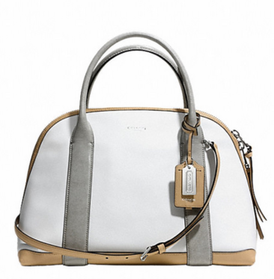 Coach Bleecker Mixed Media Preston Satchel - White Multicolor 30485, 950, Handbags, Coach