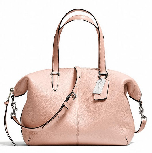 Coach Bleecker Small Cooper Satchel in Pebbled Leather - Peach Rose 27926, 990, Handbags, Coach