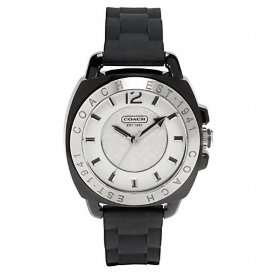 Coach Boyfriend Rubber Strap Watch - Black W914, 450, Accessories, Coach