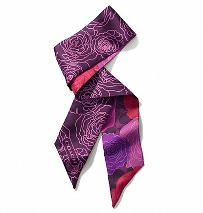 Coach Campbell Floral Print Pony Scarf - Berry F83968, 160, Accessories, Coach