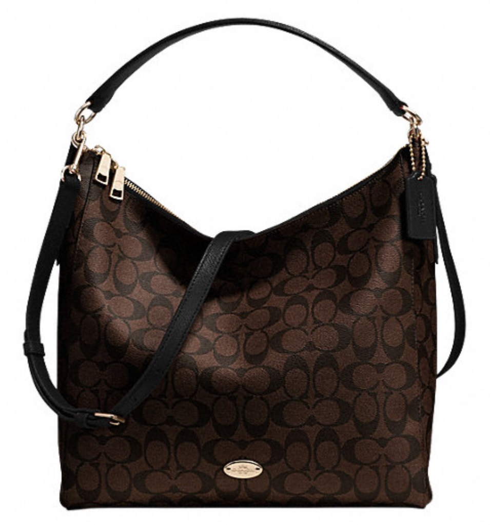 Coach Celeste Convertible Hobo in Signature Canvas - Brown Black F34910, 850, Handbags, Coach