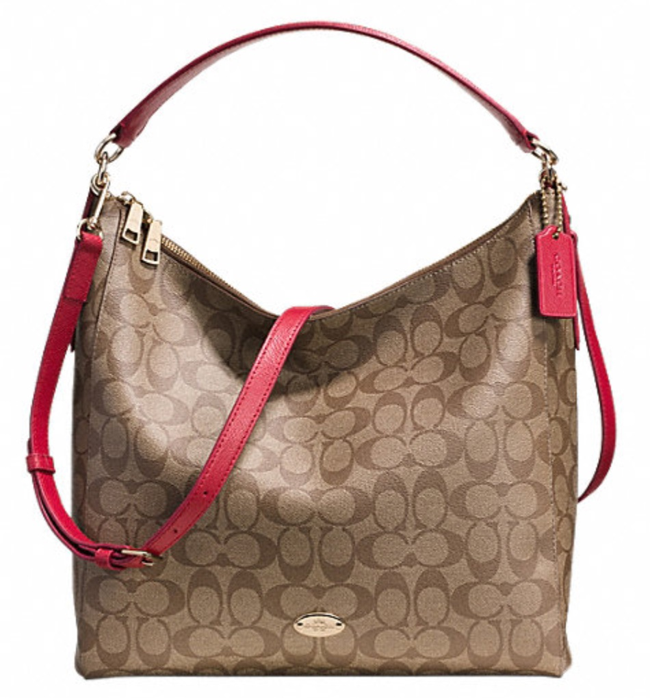 Coach Celeste Convertible Hobo in Signature Canvas - Khaki Red F34910, 930, Handbags, Coach