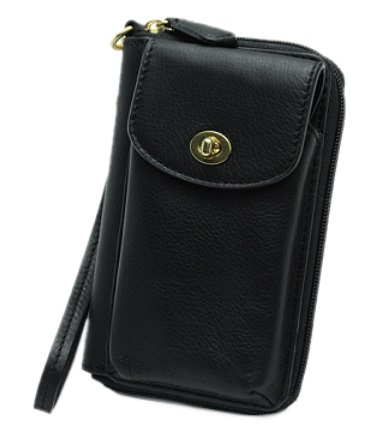 Coach Champbell Leather Universal Zip Wallet - Black F50070, 290, Accessories, Coach