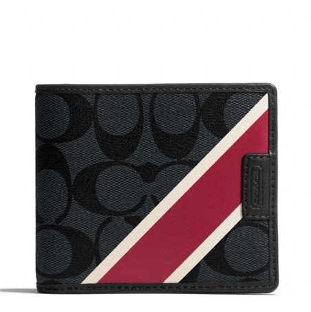 Coach Chelsea Stripe Nov Compact Passcase ID Men Wallet - Charcoal Red F74706, 450, Men Wallets, Coach