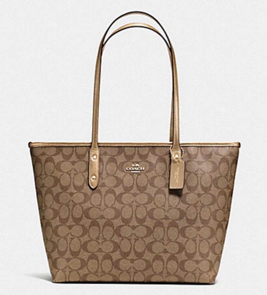 Coach City Zip Tote In Signature - Khaki Gold F36876, 790, Handbags, Coach