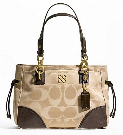 Coach Colette Signature Sateen Carryall - Khaki Walnut F23763, 690, Handbags, Coach