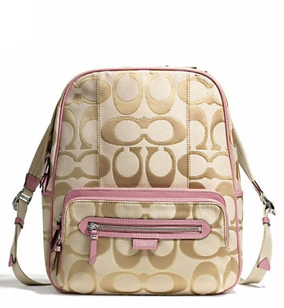 Coach Daisy Outline Signature Metallic Backpack - Light Khaki Pink F24365, 690, Handbags, Coach