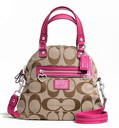 Coach Daisy Signature Foldover Crossbody - Khaki Raspberry F22941, 590, Handbags, Coach