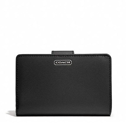 Coach Darcy Leather Medium Wallet - Black F50431, 390, Wallets, Coach