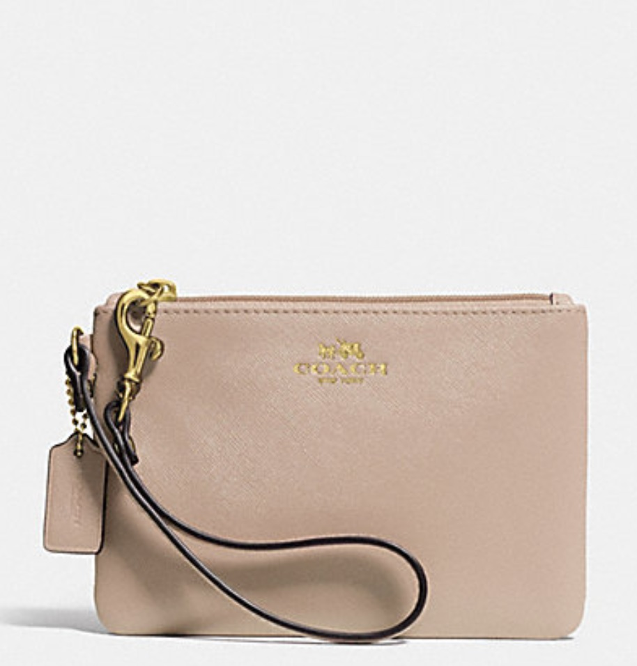 Coach Darcy Leather Small Wristlet - Sand F52205, 210, Wristlets, Coach