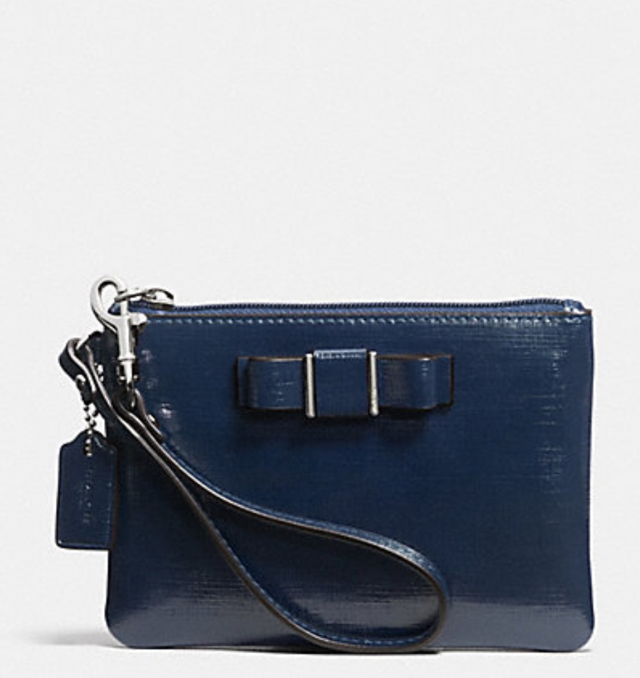 Coach Darcy Patent Bow Small Wristlet - Navy F52137, 185, Wristlets, Coach