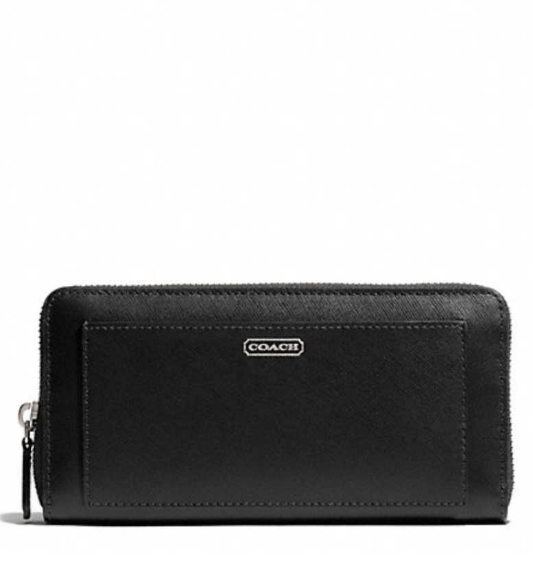 Coach Darcy Saffiano Leather Accordion Zip Wallet - Black F50427, 520, Wallets, Coach