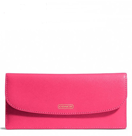 Coach Darcy Saffiano Leather Soft Wallet - Pomegranate F50428, 350, Wallets, Coach