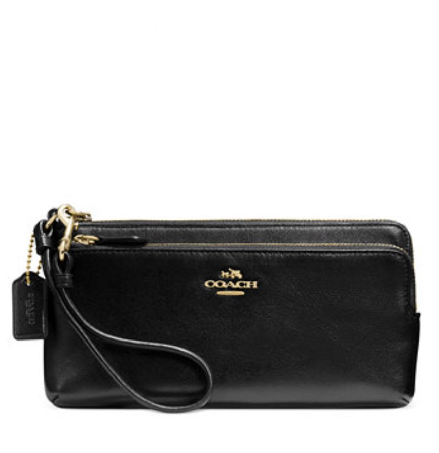 Coach Double L Zip Wallet - Black 52636, 470, Wallets, Coach