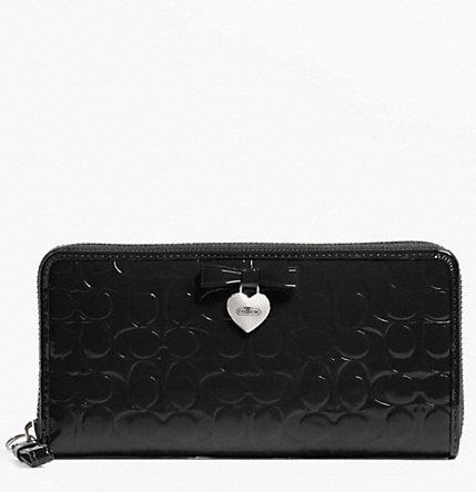 Coach Embossed Liquid Gloss Accordion Wallet - Black F49508, 550, Wallets, Coach