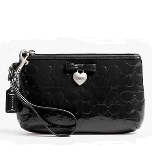 Coach Embossed Liquid Gloss Medium Wristlet - Black F49562, 320, Wristlets, Coach