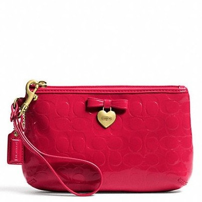 Coach Embossed Liquid Gloss Medium Wristlet - Red F49562, 290, Wristlets, Coach