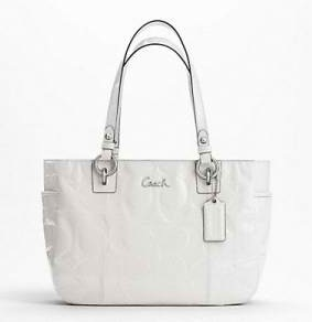 Coach Gallery Embossed Patent Tote - Ivory F17728, 750, N/A, N/A