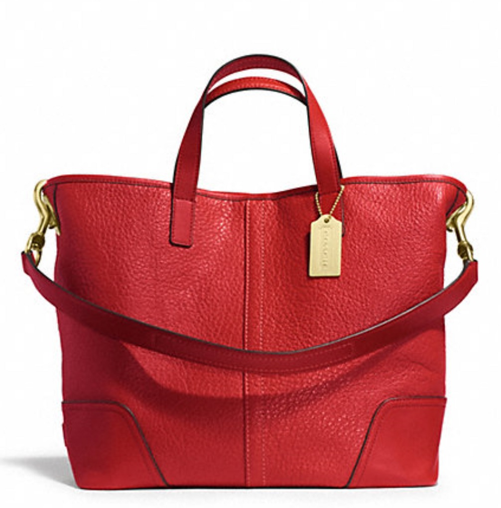 Coach Hadley Luxe Grain Leather Duffle - Bright Red F31334, 790, Handbags, Coach
