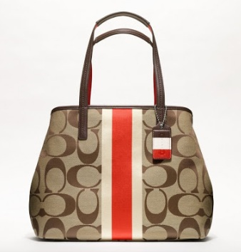 Coach Hamptons Weekend Signature Stripe Medium Tote - Khaki Vermillion 19999, 720, Handbags, Coach