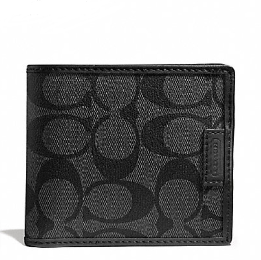 Coach Heritage Signature Double Billfold Wallet - Charcoal Black F74739, 420, Men Wallets, Coach