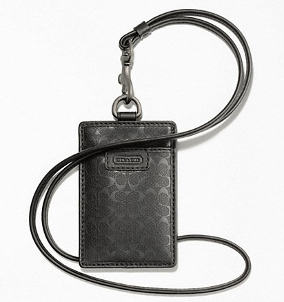 Coach Heritage Signature Embossed PVC Lanyard ID Case - Black F62481, 190, Accessories, Coach