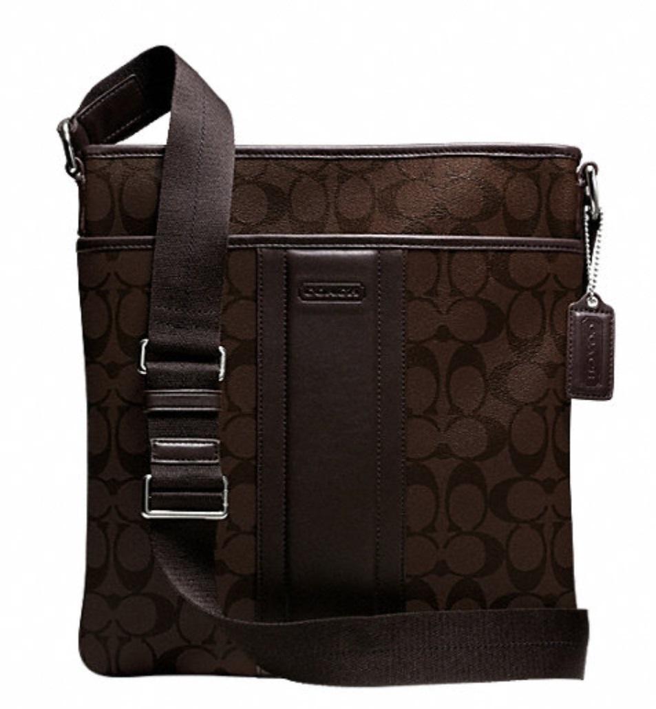 Coach Heritage Signature Small Zip Top Crossbody - Mahogany Brown F71131, 650, Men Bags, Coach