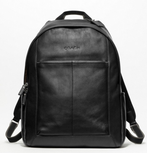 Coach Heritage Web Leather Backpack - Black F70747, 850, Handbags, Coach