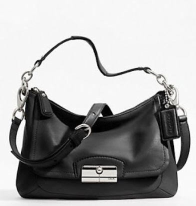 Coach Kristin Leather East-West Crossbody Bag - Black F22308, 650, Handbags, Coach