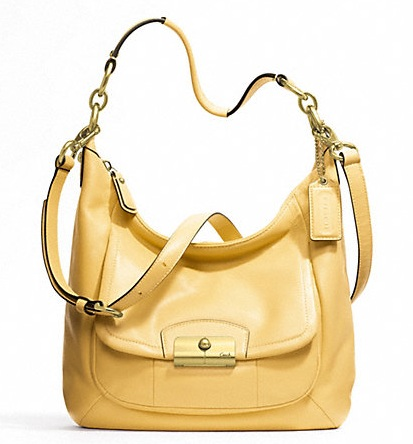 Coach Kristin Leather Hobo - Buttercup F22306, 760, Handbags, Coach