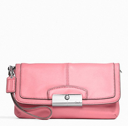 Coach Kristin Leather Large Flap Wristlet - Rose F48988, 420, Wristlets, Coach