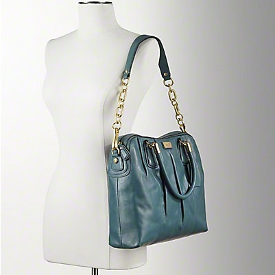 Coach Kristin Leather Pleated Satchel - Emerald 15339, 1620, N/A, N/A