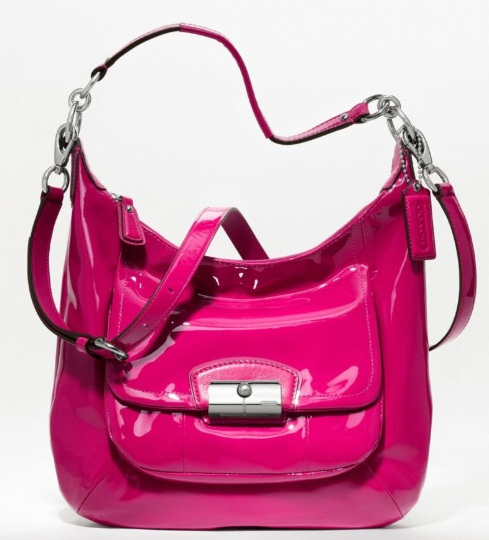 Coach Kristin Patent Hobo - Raspberry 19299, 850, Handbags, Coach