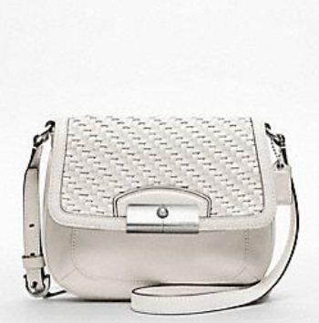 Coach Kristin Woven Leather Swingpack - Parchment 47478, 590, Handbags, Coach