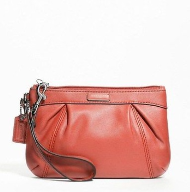 Coach Leather Pleated Medium Wristlet - Geranium F46484, 320, Wristlets, Coach