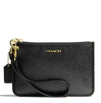 Coach Legacy Small Wristlet in Glitter Fabric - Black 50374B, 230, Wristlets, Coach