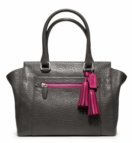 Coach Legacy Textured Leather Medium Candace Carryall - Graphite Berry 19926, 1190, Handbags, Coach